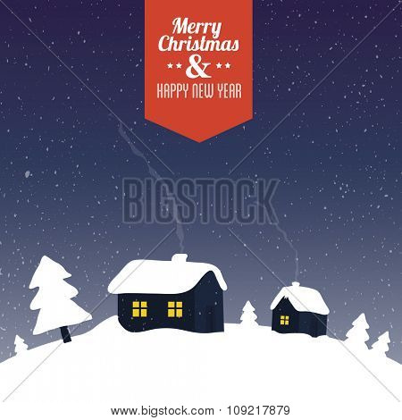 Houses and pine trees covered by snow - stylized winter scene. Christmas greeting card vector illustration.