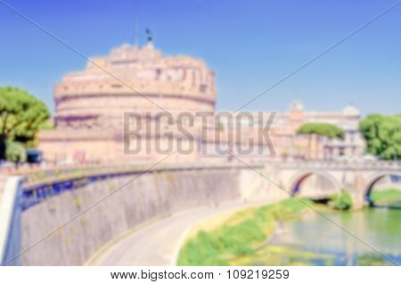 Defocused Background Of St Angelo Castle Over The Tevere River, Rome