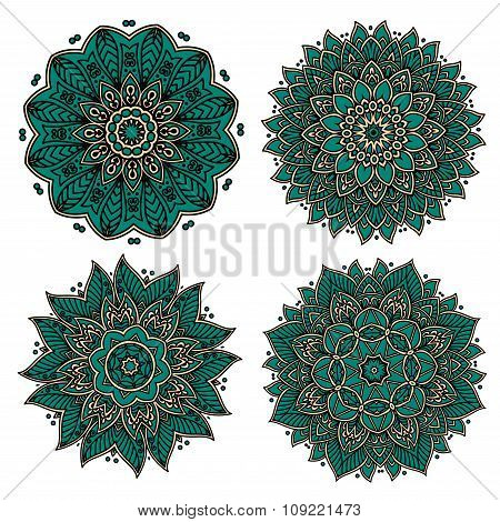 Circular green patterns with decorative elements