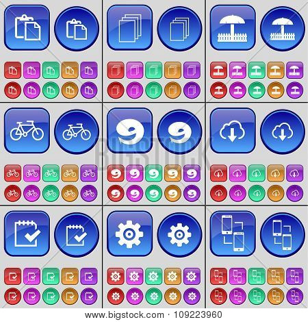 Survey, Files, Umbrella, Bicycle, Nine, Cloud, Survey, Gear, Smartphone. A Large Set Of Multi-