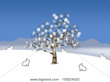 Snow Covered Landscape With Single Tree