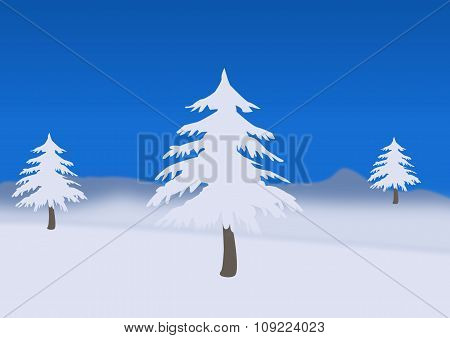 Winter Landscape With Three Trees