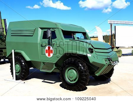 MOSCOW REGION  -   JUNE 17: Army armored small all terrain crossover of the military medical service  -  on June 17, 2015 in Moscow region  green