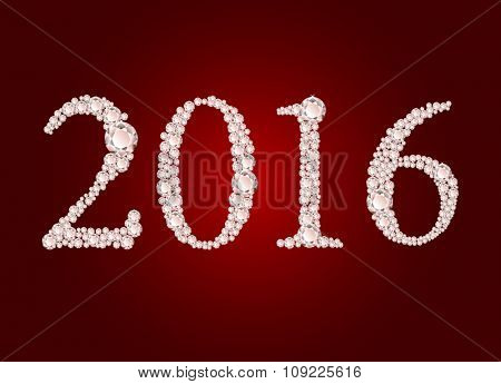 Vector diamond 2016 text on red background