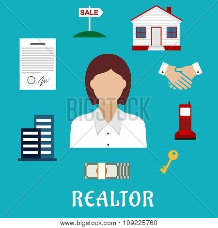 Realtor or real estate agent profession icons