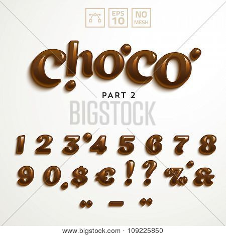 Vector numbers and symbols made of chocolate. Additional set for the Choco Font style.