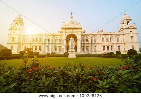 Front garden view landmark building Victoria Memorial in Kolkata or Calcutta, India.