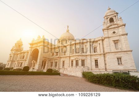 Landmark building Victoria Memorial in Kolkata or Calcutta, India.