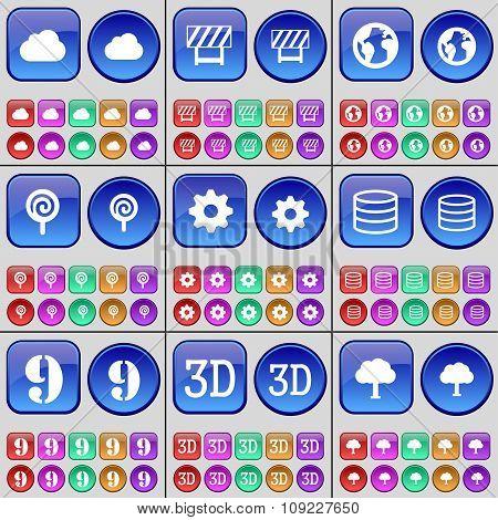 Cloud, Barrier, Earth, Lollipop, Gear, Database, Nine, 3D, Tree. A Large Set Of Multi-colored