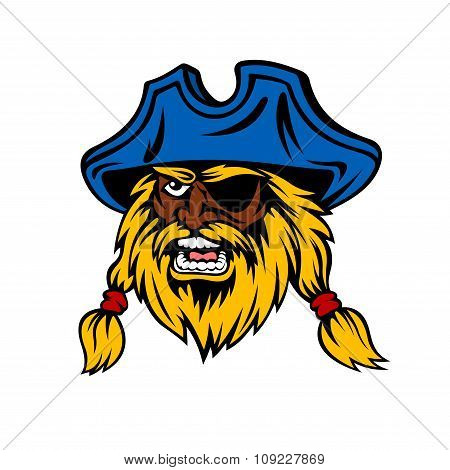 Cartoon captain pirate with long hair in hat