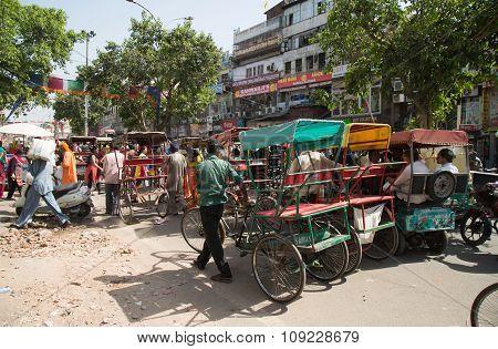 Cycle Rickshaws In Delhi, India