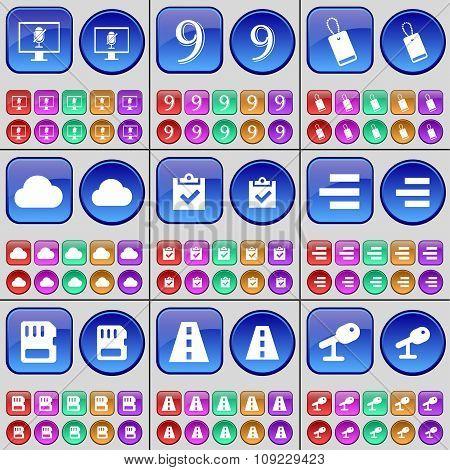 Monitor, Nine, Tag, Cloud, Survey, List, Sim Card, Road, Microphone. A Large Set Of Multi-colored