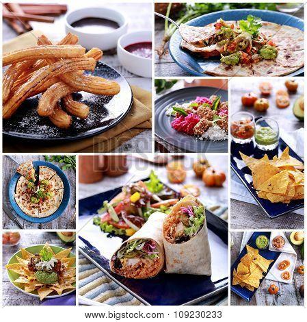 Various Mexican Food Buffet, Close Up