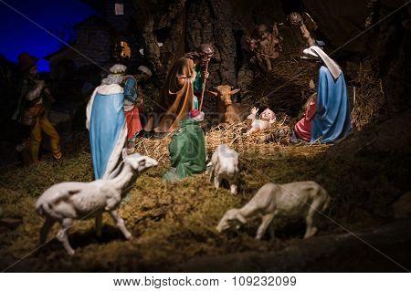 Christmas Manger Scene With Figurines Including Jesus, Mary, Joseph, Sheep And Magi