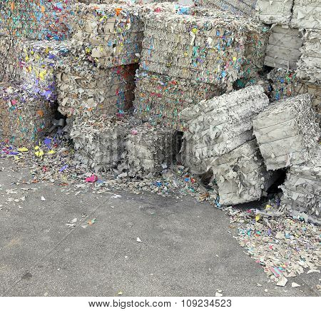 Heaps Of Waste Paper In The Paper Mill For The Production Of Recycled Paper