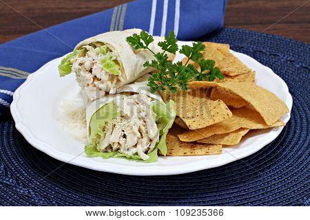Chicken Caesar Wraps With Tortilla Chips