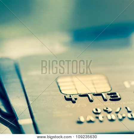 Selective Focus : Close Up Macro Shot With Credit Card. Filtered Process