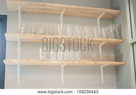 Front View Of Glass Wooden Shelf
