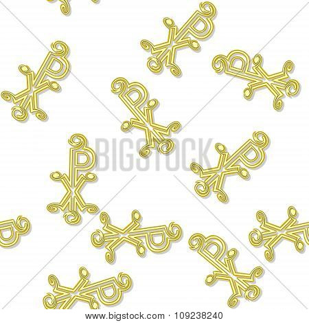 Seamless Labarum Pattern In Yellow Spectrum On White