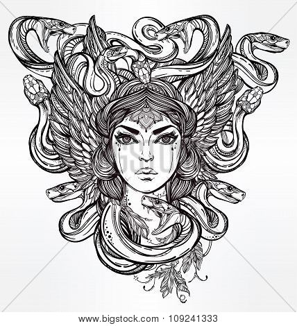Mythological Medusa portriat illustration.