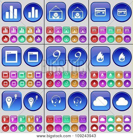Diagram, Flower, Credit Card, Window, Nine, Fire, Route, Headphones, Cloud. A Large Set Of Multi-col