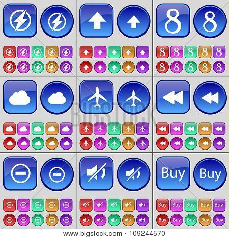Flash, Arrow Up, Eight, Cloud, Airplane, Rewind, Minus, Mute, Buy. A Large Set Of Multi-colored