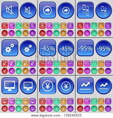 Mute, Back, Connection, Gear, Discount, Monitor, Yen, Graph. A Large Set Of Multi-colored Buttons.