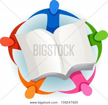 Illustration of a Group of People Surrounding a Giant Book