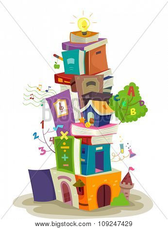 Illustration of a Tiny Building Built from a Stack of Books