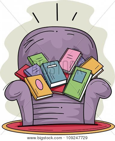 Illustration of a Sofa Chair Filled with Books