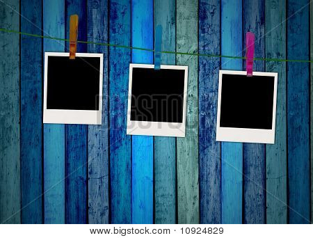 Blank Photos Hanging on Clothes Line