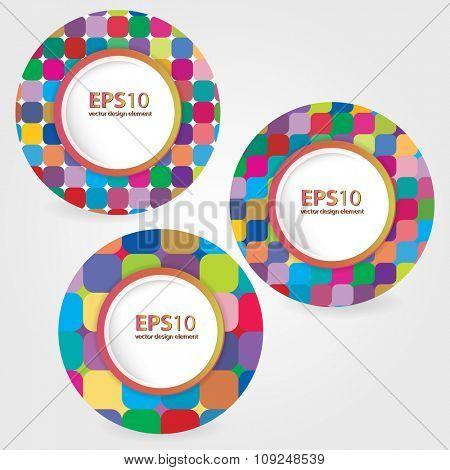 Set of bright circles frames. Vector illustration.