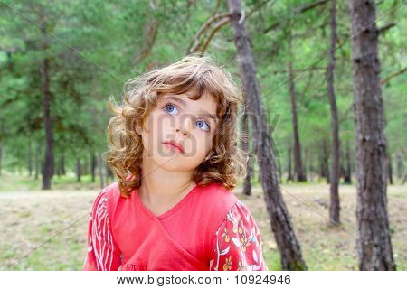 Pensive Girl In Forest Nature Tree Thinking Gesture