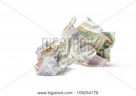 Crumpled 20 Baht Banknotes
