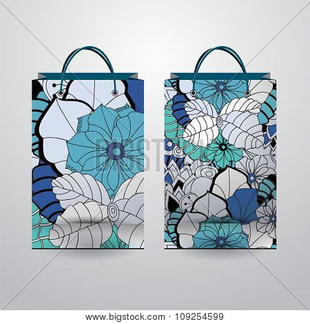 Set Of Stock Vector Isolated Paper Shopping Bag With  Pattern On The Grey Background