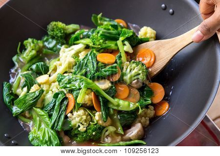 People Cooking Healthy Vegetarian Chinese Food Capcay