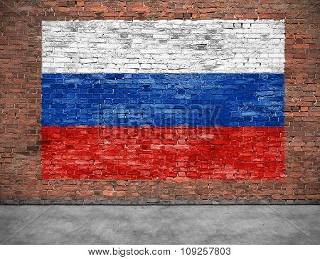Flag Of Russsia On Brick Wall With Part Of Foreground