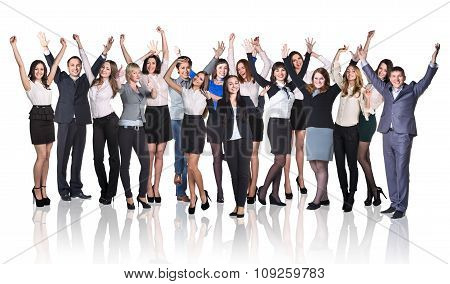 Business prople whith hands up