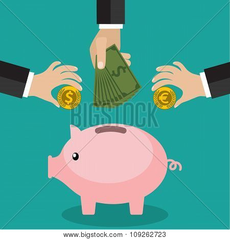 Many hands putting coin and money into a piggy bank. Saving and investing money concept. Flat style.