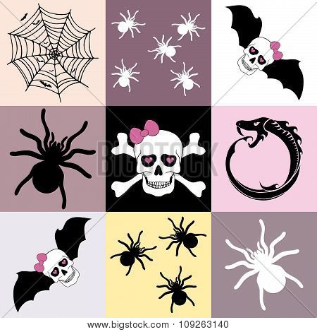 Halloween Themed Seamless Mosaic Pattern Or Background