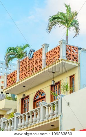 Modern apartment buildings in Playa Del Carmen, Mexico. poster