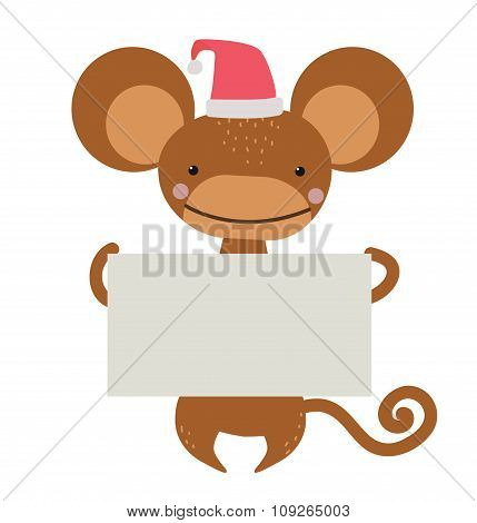 New Year Christmas cartoon monkey Santa hat holding banner