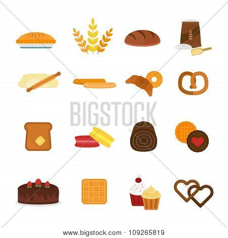 Vector fresh baked bread products icons isolated on white background