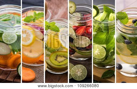 A portrait of various refreshing infused water from tropical fruit poster