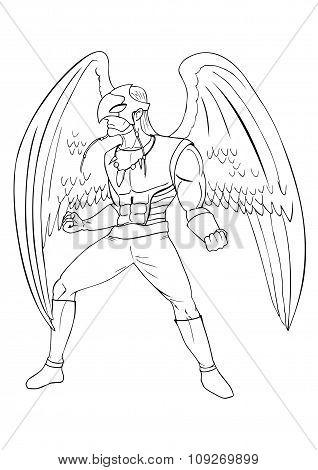 Line art illustration of a superhero