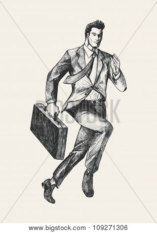 Sketch illustration of a businessman running