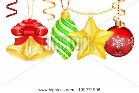 Vintage vector Christmas 3d decoration toys