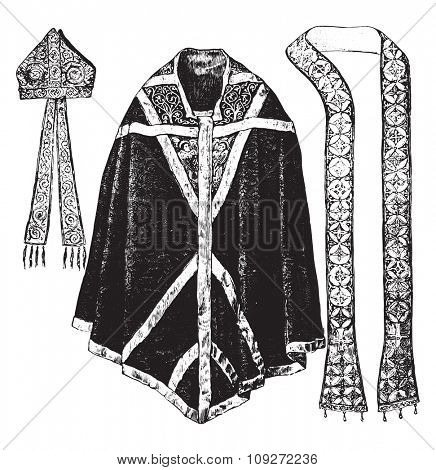 Chasuble, stole and miter of Thomas Becket, vintage engraved illustration. Industrial encyclopedia E.-O. Lami - 1875.