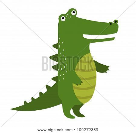 Vector cartoon cute crocodile isolated on white background