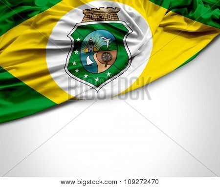 Ceara waving flag on white background
